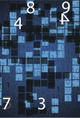 Numbers on a background of blue squares