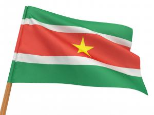 The flag of Suriname fluttering in the wind