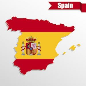 Outline of Spain with national flag filling country shape