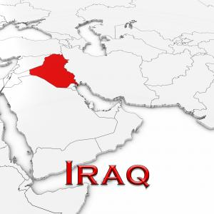 A map of the middle East with Iraq named and highlighted in red