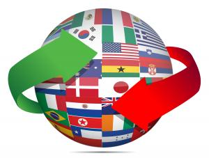 A globe comprised of national flags encircled by two arrows