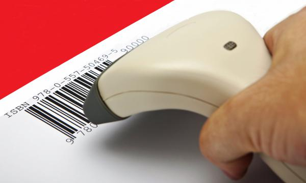 A scanner being used on a barcode, with the ISBN above